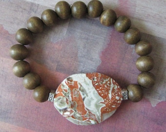 Large Marble Worry Stone Stretch Bracelet with Wood Beads