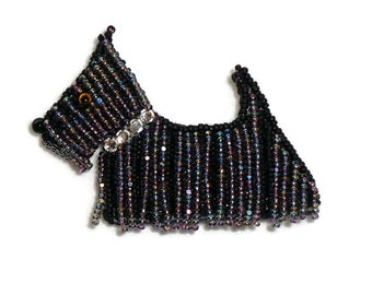 SCOTTISH TERRIER beaded dog jewelry bead embroidery pin pendant w/ crystal collar (Ready to Ship) (a)