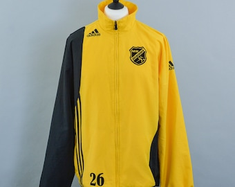 Retro Adidas Yellow Track Suit Zip Top Tus 64 Bosinghoven Men's Large 44 46