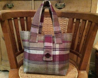 "Tweed Fabric Handbag. Balmoral Heather. Fully Lined. Inside Pockets. 13 1/2"" width. 10"" Depth."