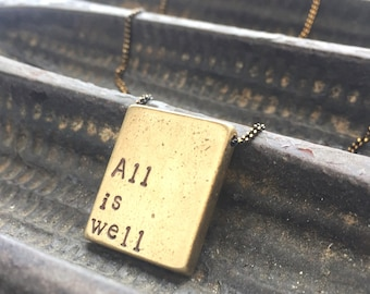 Personalized jewelry, All is Well, Custom hand stamped mantra necklace, custom name necklace, gift for bestie, self care quote necklace