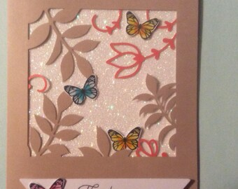 Stampin up glitter thank you card with envelope, blank inside