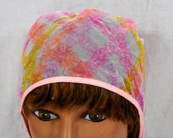 Vintage Hair Cap - Pink Muted -  Nylon Hair Curler Bonnet Night Sleep Hats