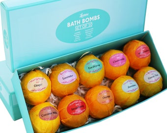 Bath Bombs Gift Set – Ten (10) Unique Scents in One Box, Relaxation in a Box