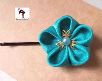 Japanese flower Tsumami kanzashi for hair, blue color.