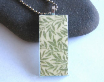Green Leaves. Glass Pendant Necklace.