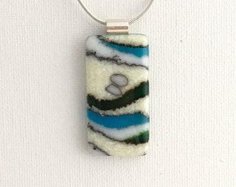 Fused glass pendant, blue/green/vanilla/white pendant, Nantucket pendant, crushed glass pendant, beach pendant, ocean pendant