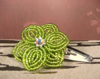 Pixie - Snap Clip - French Beaded Flower