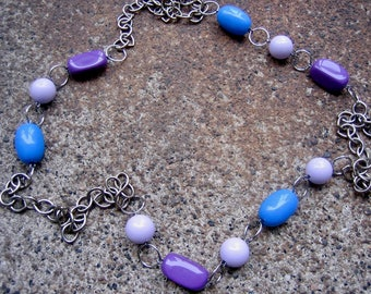 Eco-Friendly Statement Necklace - Fairy Tale Ending - Recycled Chunky Vintage Chain and Bright, Shiny Beads in Blue, Purple and Lilac