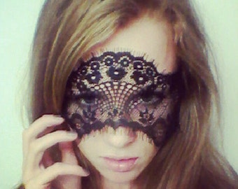 Black French Lace Face Mask - Excellent for Gift for Her, Masquerade, Ball, Adult Fun - 50 Shades of Grey Mask - 50 Shades Blindfold
