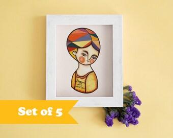 Autumn postcards orange & mustard illustration, set of 5