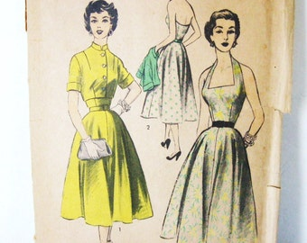 50s Halter Dress & Bolero Jacket Set Vintage Sewing Pattern Advance 6393 Unused FF, Full Skirt Open Back, Mandarin Collar Crop Top, Bust 32