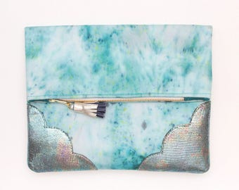 RESERVED for Elaina / DELIGHT 48 /Leather folded clutch purse- blue metallic leather bag-dyed cotton bag-dyed cotton purse-Ready to Ship