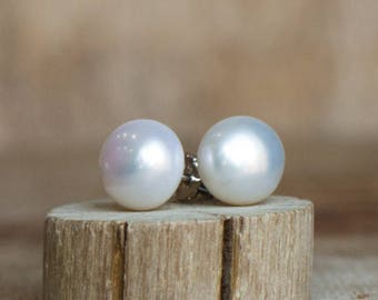 White Pearl Stud Earrings - June Birthstone