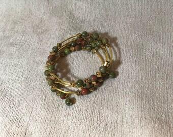 Green Unakite Memory Wire Bracelet