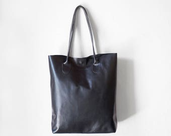 Black Essential Tote / Nappa Leather Tote Bag / Black Bag / BlackTote Bag / Women's Handbag / Black Tote / Black Leather Shopper