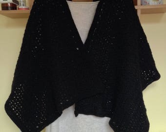 Black Lace Lacy Crocheted Scarf Shawl Wrap