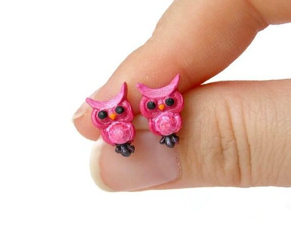 Owl Earrings - Owl Gifts - Owl Stud Earrings - Gifts for Owl Lovers - Pink Stud Earrings Hypoallergenic Earrings - Bird Earrings