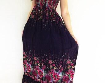Women Maxi Dress Gypsy Dress Boho Dress Hippie Dress Summer Beach Dress Long Dress Party Dress Clothing Flower Printed Black (DL30)