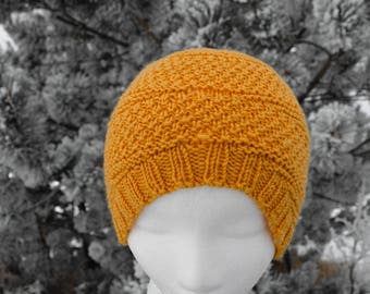 Golden Yellow 100% Wool Hand Knit Hat With Subtle Earflap Shaping. Beanie/Earflap Hat Hybrid, Textured Knit, Warm Colors for Grey WInters