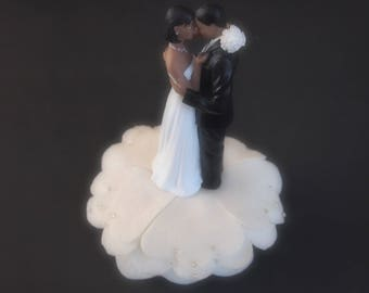 Wedding Cake Topper Ivory African American Bride and Groom