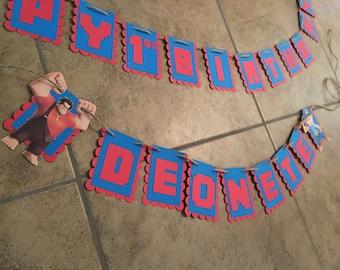 Wreck it ralph large birthday banner