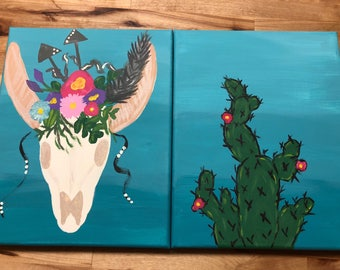 Hand painted skull and cactus tex mex set of small canvas artwork