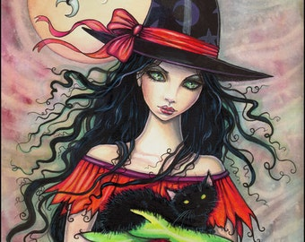 Autumn Mischief - Halloween Witch and Black Cat Giclee Print 9 x 12 - Fantasy Art by Molly Harrison