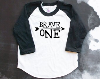 Brave One Toddler Baseball Shirt - Brave Child - 1st Birthday Shirt - Kids Birthday Shirt - Be Brave Little One - 1st B-Day - First Birthday