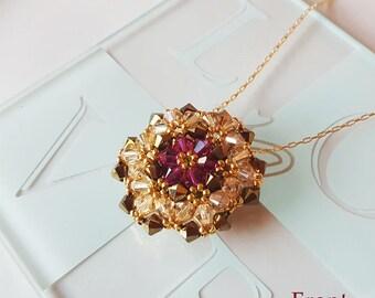 Handmade.Sunflower Form Halskette Perlen Swarovski-Kristall