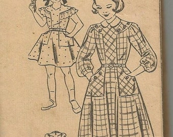 ON SALE 1940s or 50s Girl's Dress pattern Sleeve Variations Patch Pockets Mail Order 2216 Size 14 Girls' Vintage Sewing Pattern