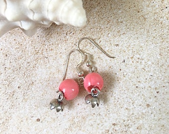 Charming pink coral and sterling silver earrings with bell charms, natural stone earrings