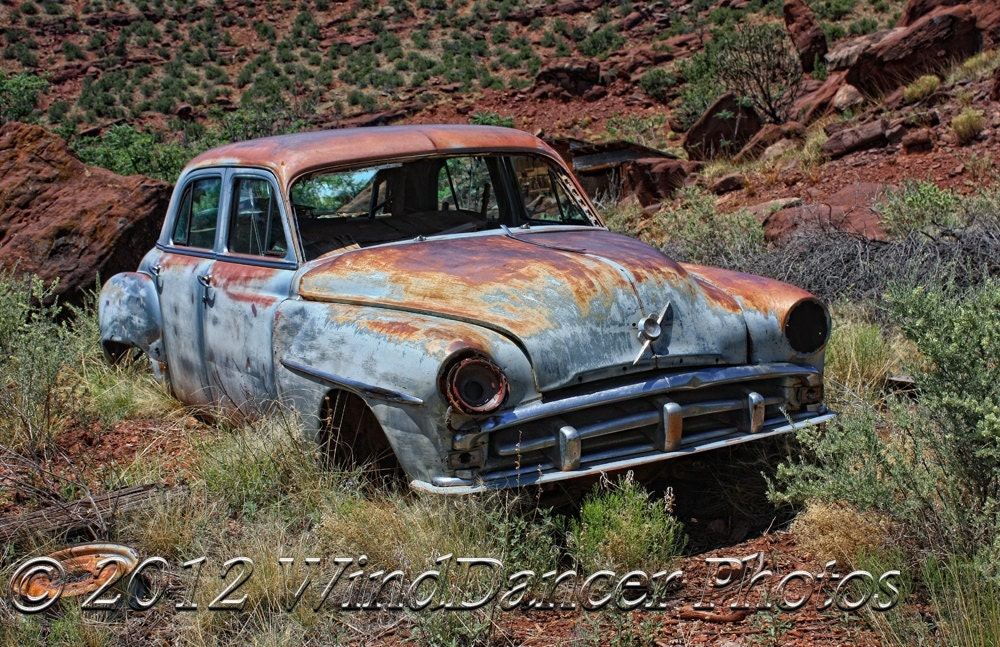 Rusted Vintage Car Man Cave Art Rusty Car Gift Idea for