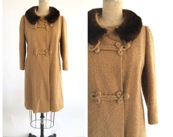 60s wool fur collar coat | mink collar coat | vintage fur collar coat