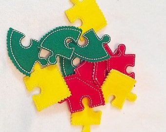 Felt Puzzle games - Set of 3 shapes  -Perfect for very young chlidren busy bags or quiet books - learning activity -  #P762
