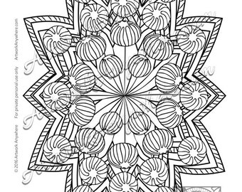 Hard Candy Pinwheel Mandala ~ Adult coloring page printable download ~hand drawn candies~  Candy Kaleidoscope digi stamp by Artwork Anywhere