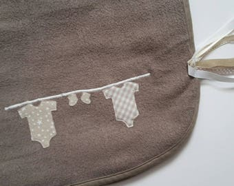 "Baby blanket fleece, taupe 80x80cm ""extend my baby"" and its attachment to stroller"