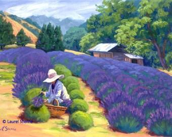 Ceramic Art Tile: Lavender Harvest, Finney's Farm in San Luis Obispo, CA by Laurel Sherrie