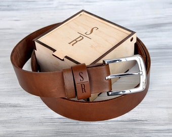 Mens Personalized Leather Belt Fathers Day Gift Leather Anniversary Gifts for Him Christmas Gift for Men Gift for Dad Birthday Gift from Son