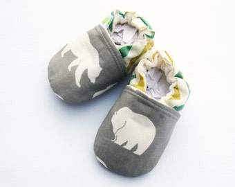 Organic Vegan Grey Bear with Chevron / All Fabric Soft Sole Baby Shoes / Babies Booties Gift