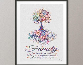 Tree Rooted Family Quote Watercolor Print Wedding Gift Archival Fine Art Print Wall Decor Art Home Nursery Art Decor Wall Hanging [NO 455]