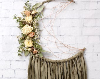 Olive Green Moon Dream Catcher with Dried Flowers