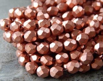 6mm Matte Metallic Copper PRECIOSA Traditional Czech Fire Polished Glass Beads, Full Strand (INCZ470)