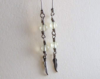 Pale Green Gemstone Stack Earrings with Sterling Silver Feather Dangle, Prehnite Jewelry, Linear Wire Wrapped Stone