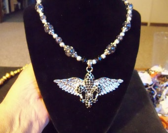 artistic assemblage necklace unique gift for her rhinestone winged floor de lis eclectic set with earrings jewelry OOAK
