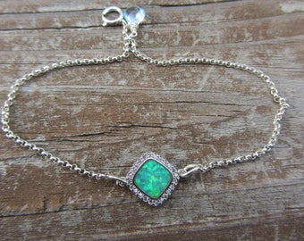 Black Opal, Black Opal Bracelet, Graduation Gift, Birthday Gift, Libra Birthday, Opal Gemstone, Opals and Diamond, Steriling Silver, Beach