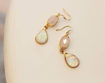 rosequartz earrings .
