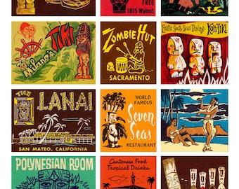 TIKI ROOM - Digital Printable Collage Sheet - Vintage Tiki Matchbook Covers, Polynesian Culture, Easter Island Statues, Digital Download