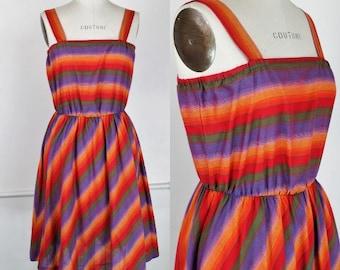 Vintage 1970s Striped Sun Dress / Toni Todd Dress / Rainbow Print Dress / Fit and Flare