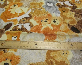 Brown Packed Teddy Bear Cotton Fabric by the Yard